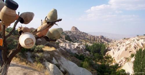 Panorámica del valle de las palomas en Uchisar