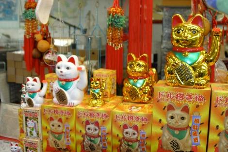 Gatos de la suerte en China Town
