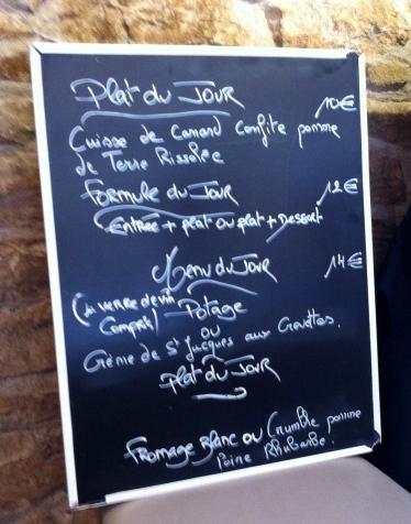 Pizarra menus del día Francia