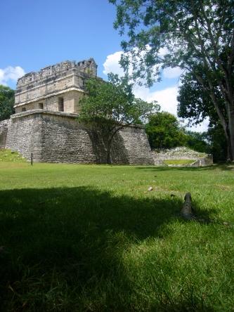 Iguana cerca del templo