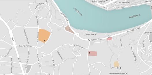 Plano del Cais de Gaia con la situación de las que para nosotros son las 5 mejores bodegas de Oporto para visitar.