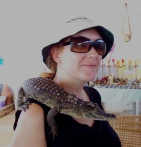 Foto con un cocodrilo del nilo