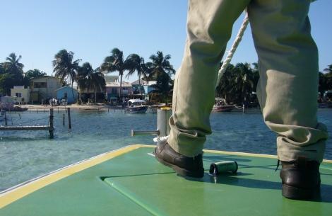 WaterTaxi llegando a Cayo Caulker (Belice)