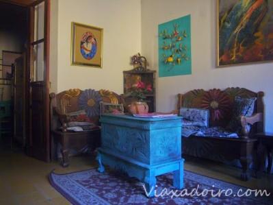 Recepción del hotel Casa Cristina en Antigua Guatemala
