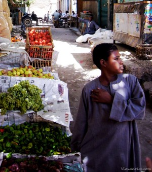Un muchacho atiende un puesto de frutas y hortalizas en Esna