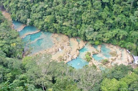 Las cascadas de Semuc Champey desde el mirador del Parque Natural